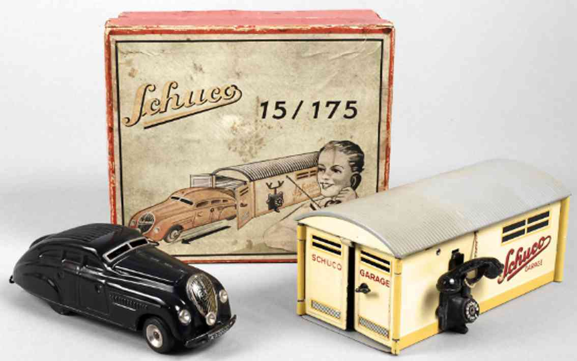 schuco 15/175 tin toy garage 1500 set wind-up auto black