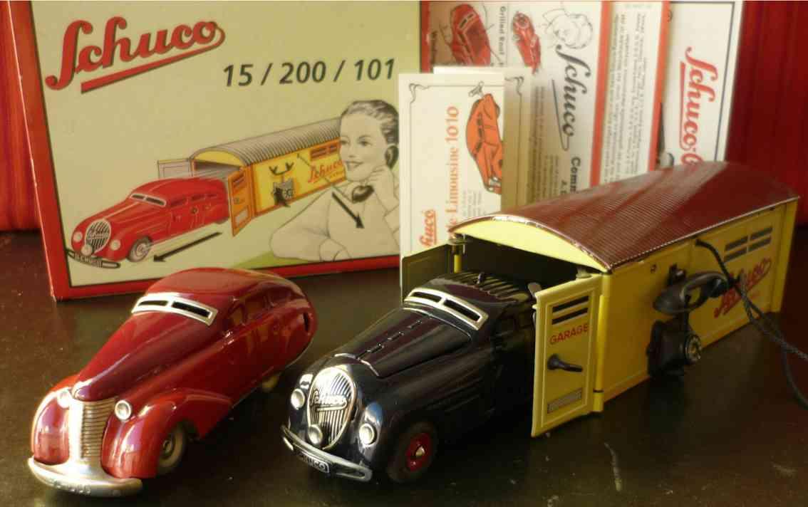 schuco 15/200/101 blech spielzeug set maybach 2000 wendeauto 1010 garage 1500