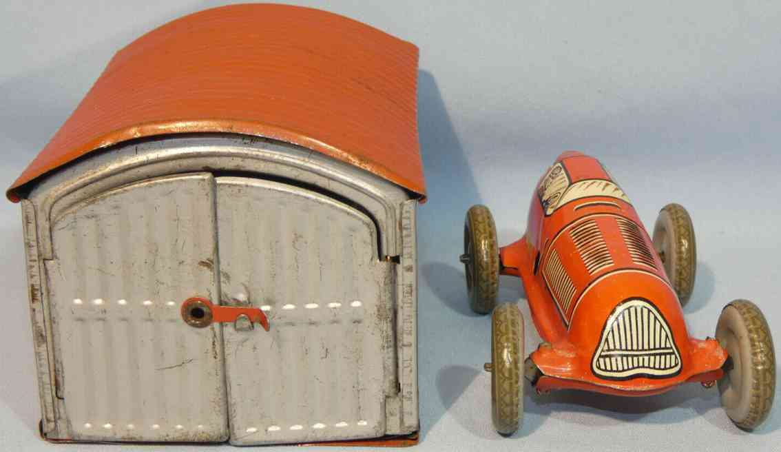wimmer heinrich hwn blech spielzeug garage with race car and clockwork