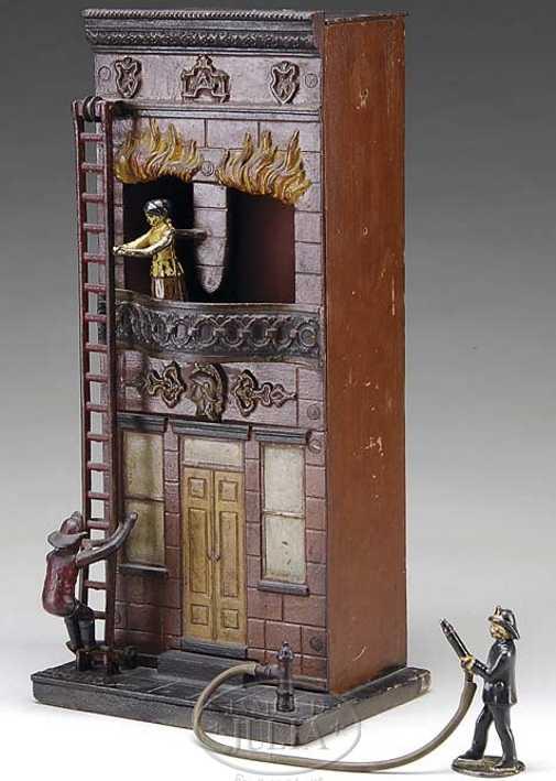 carpenter spielzeug gusseisen brennendes gebaeude feuerwehrmaenner