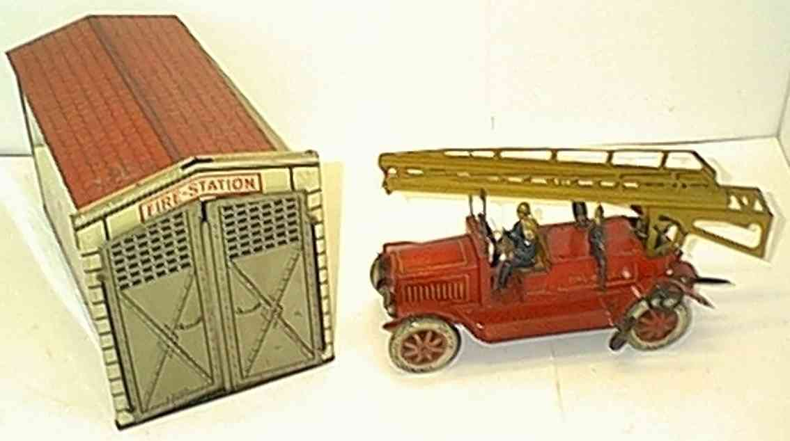 distler johann in toy building fire brigade  house truck has wind-up