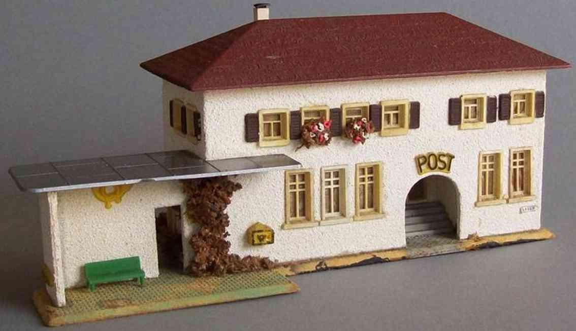 Faller 213 Postgebäude mit Haltestelle aus Holz