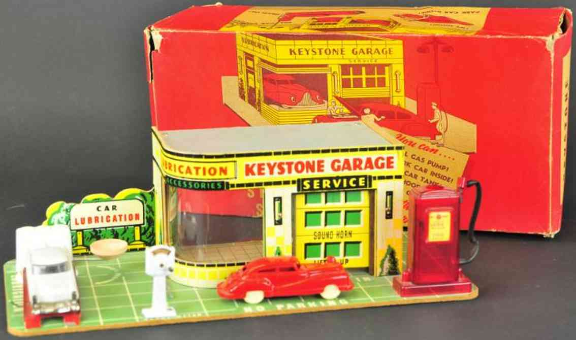 keystone blech spielzeug gebaude tankstelle mit zapfsäule und plastikfassade an einer seite,