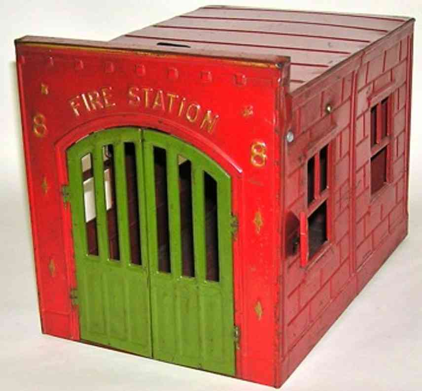 kingsbury toys 8 tin toy building fire station red