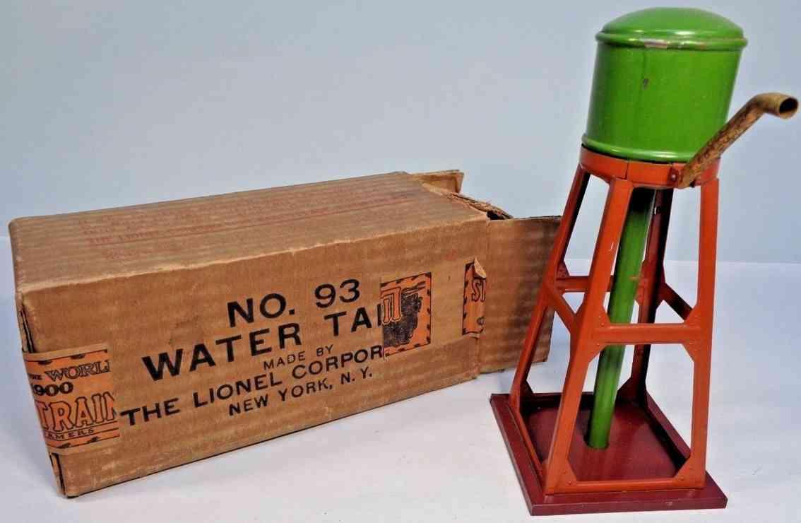 lionel 93 railway toy water tower pea green orange maroon
