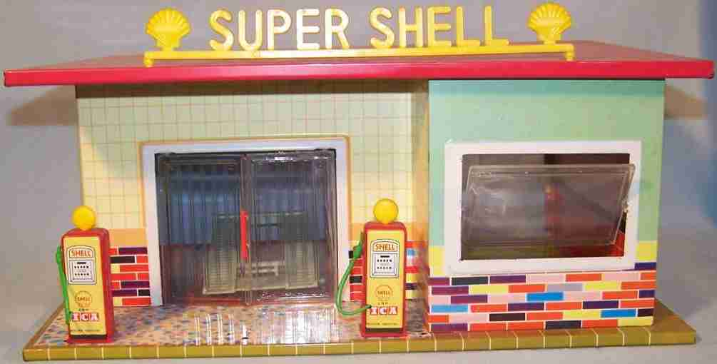 tippco tin toy shell service station sheet metal plastic
