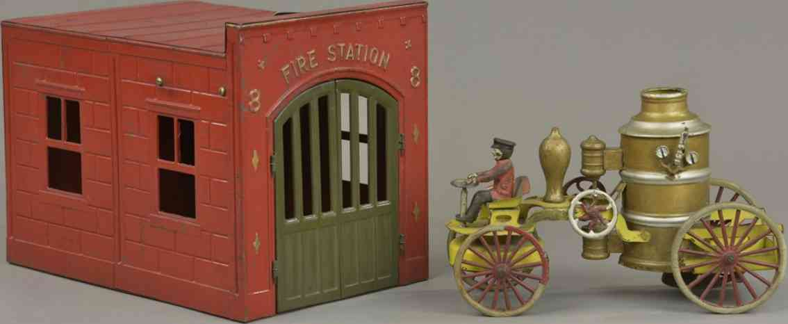 wilkins tin toy fire station pumper clockwork