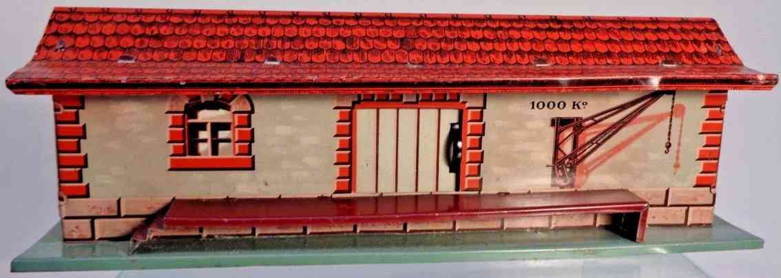 bing 10/644 railway toy freight goods shed roof red