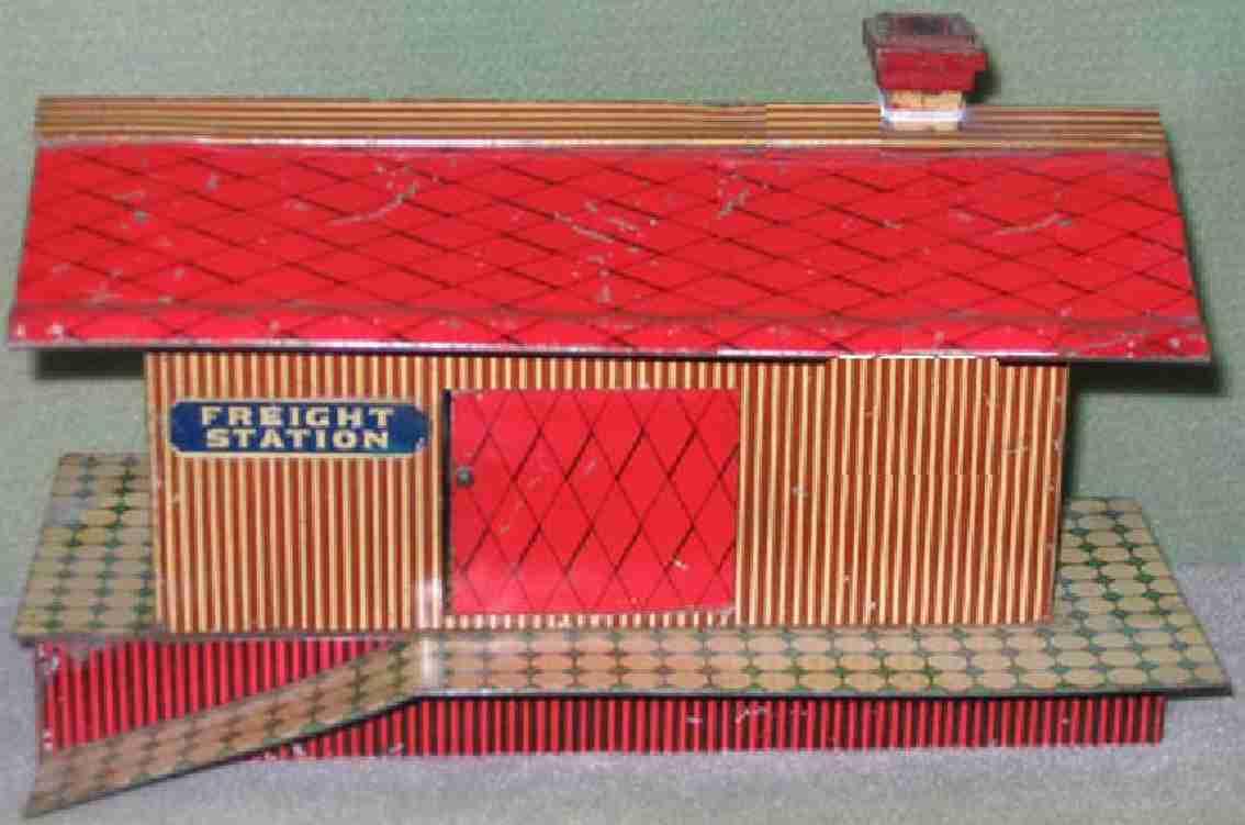 ives 115 (1906) spielzeug eisenbahn gueterschuppen güterschuppen lithografiert, wände sind  karamelfarbig gestr