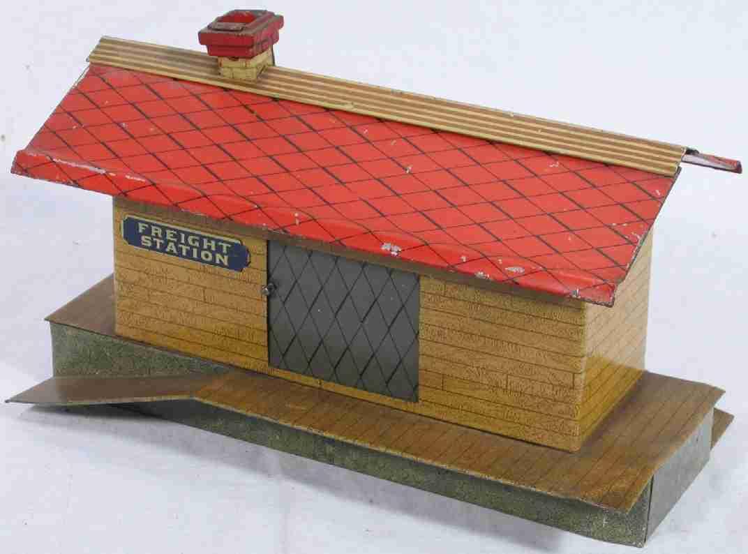 ives 115 (1907) spielzeug eisenbahn gueterschuppen güterschuppen lithografiert, wände als holzfarbige bohlen, d