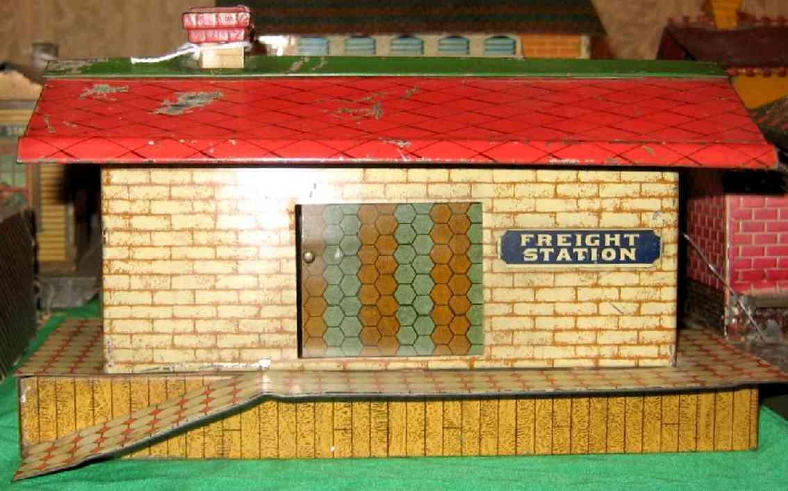 ives 115 1910 spielzeug eisenbahn gueterschuppen ziegelstein holzbohlensockel
