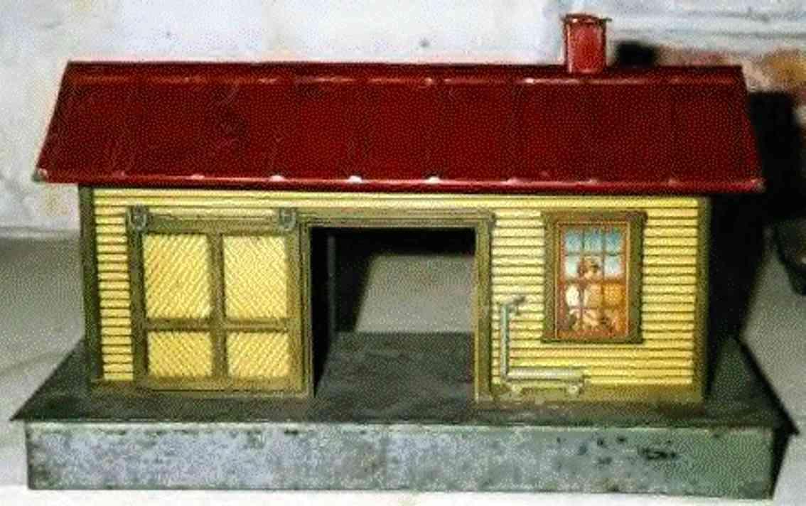 ives 115 (1914) spielzeug eisenbahn gueterschuppen güterschuppen auf den wänden holzartig lithografiert mit ein