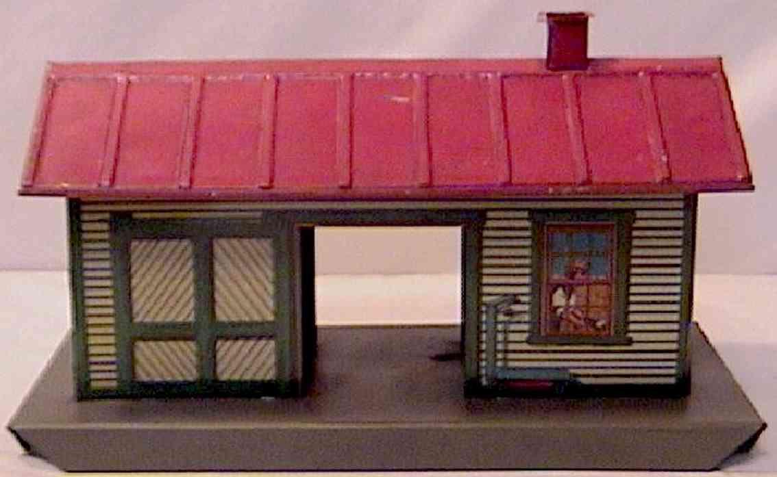 ives 115 (1925) spielzeug eisenbahn gueterschuppen güterschuppen auf den wänden holzartig lithografiert mit ein
