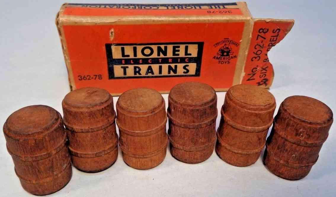 lionel 362-78 spielzeug eisenbahn sechs fässer #362-78, gebiezte holzfässer für den betrieb mi