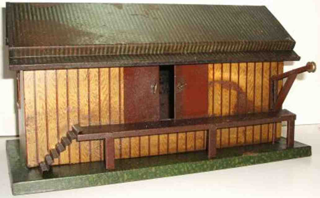 plank ernst 644/8 railway toy freight shed goods shed light brown with smooth walls and smooth roof, ra