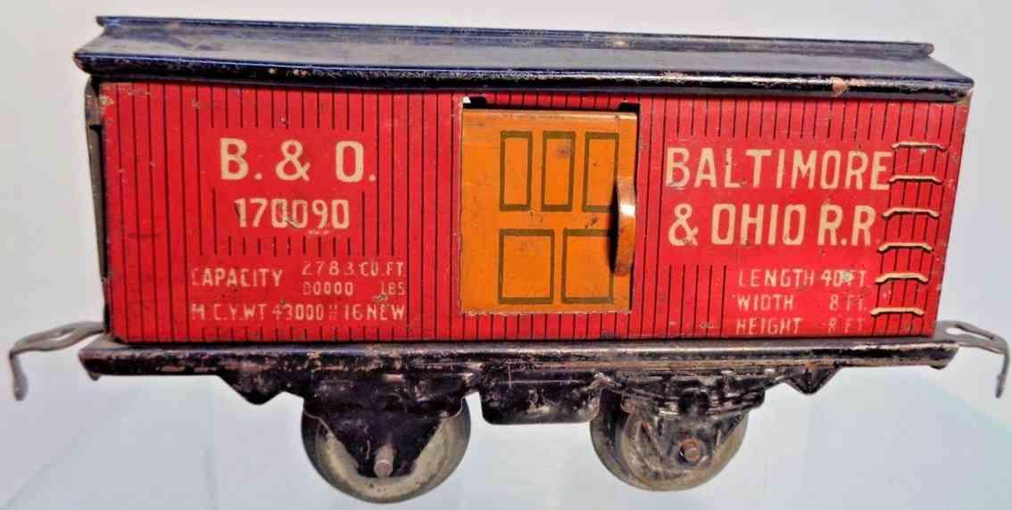 american flyer toy company 1110 b&o railway toy boc car red orange black gauge 0