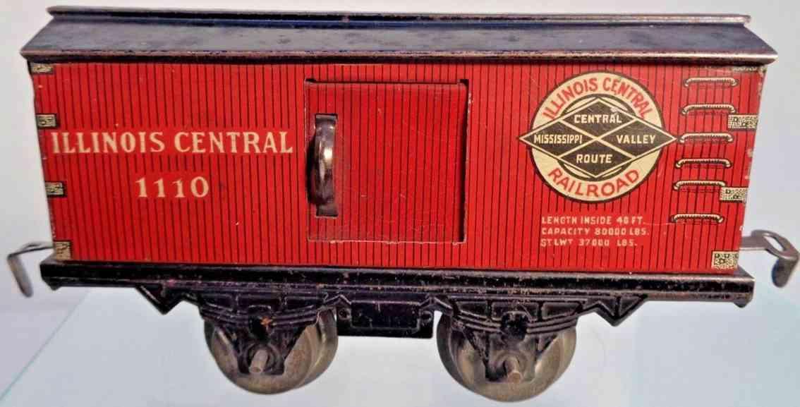 american flyer toy company 1110 illionois railway toy boc car red black gauge 0
