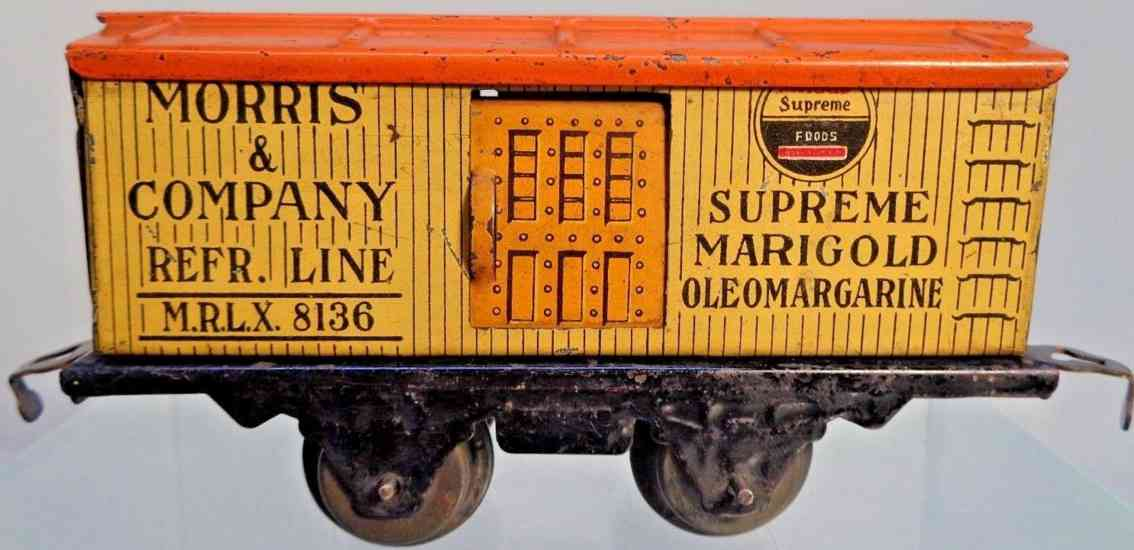 american flyer toy company 1110 morris railway toy refrigerator car yeloow orange gauge 0