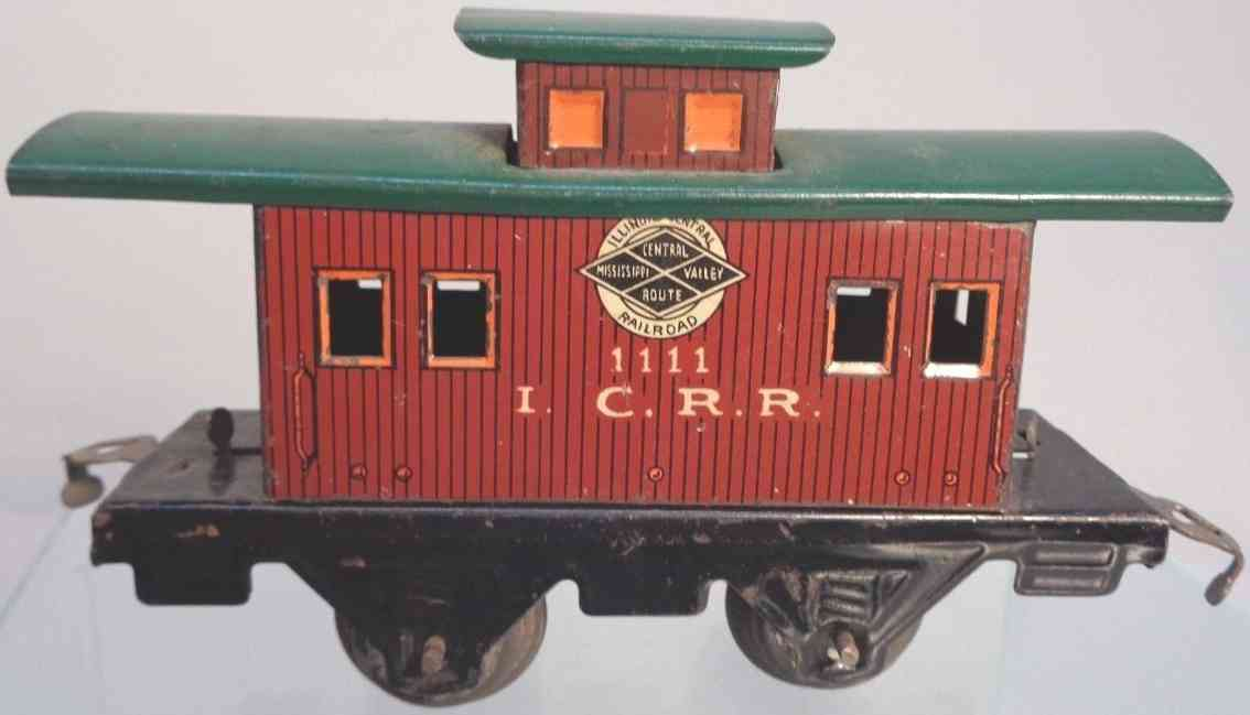 american flyer toy company 1111 Illionois railway toy caboose brown green gauge 0