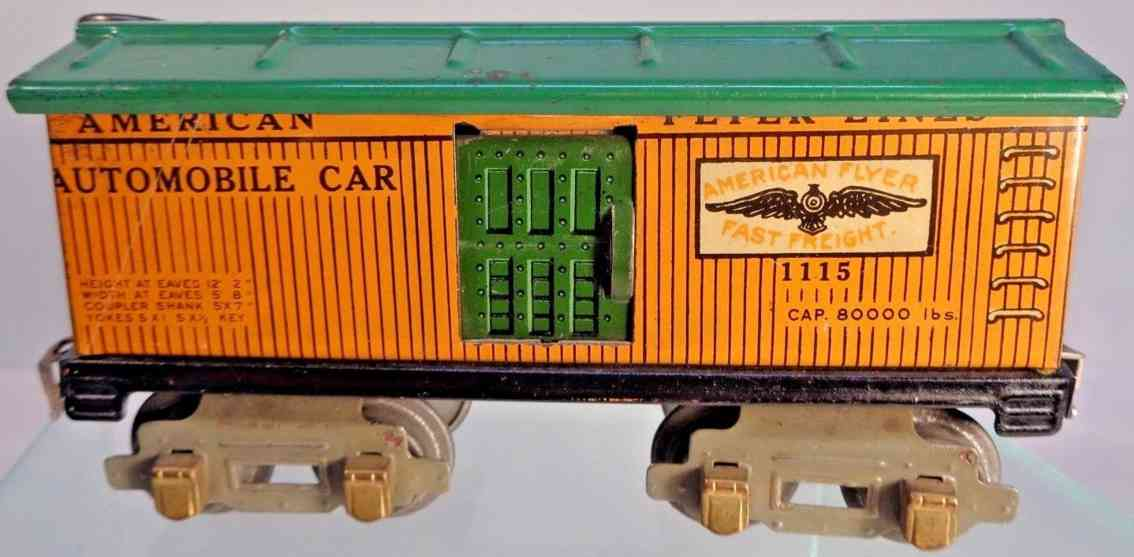 american flyer toy company 1115 railway toy box car yellow green gauge 0