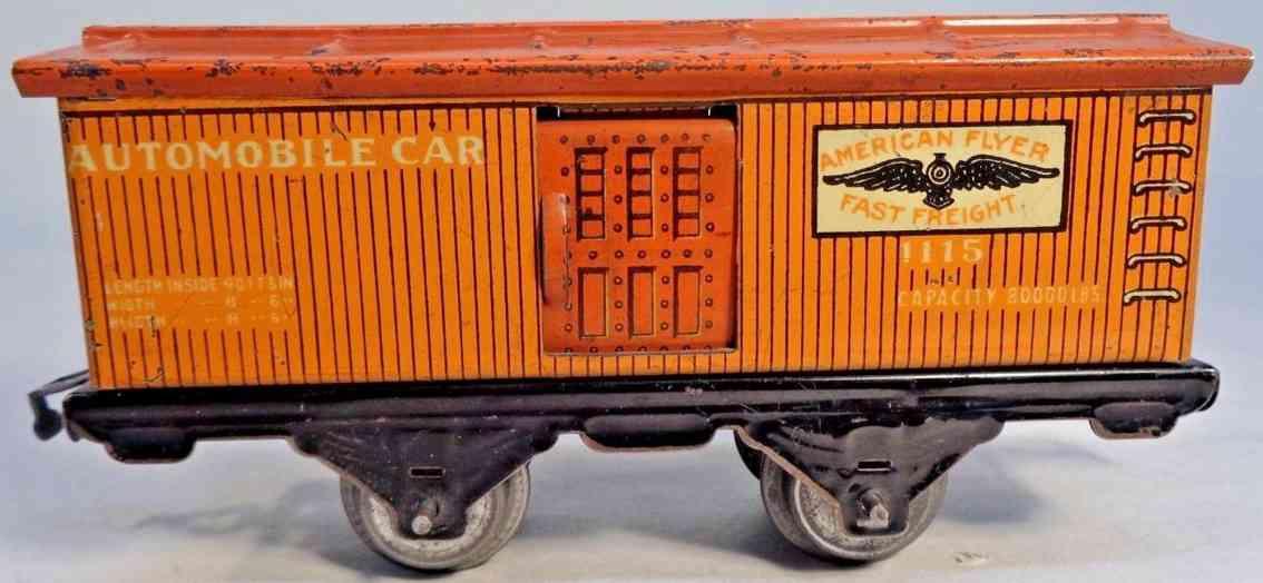 american flyer toy company 1115 railway toy box car orange gauge 0