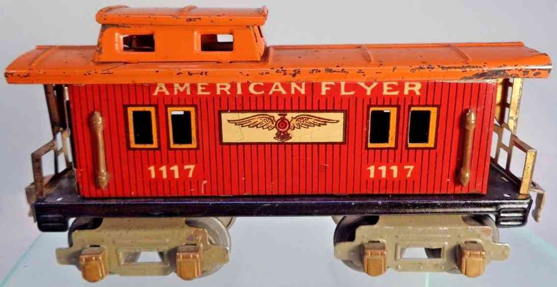 american flyer toy company 1117 railway toy caboose red gauge 0