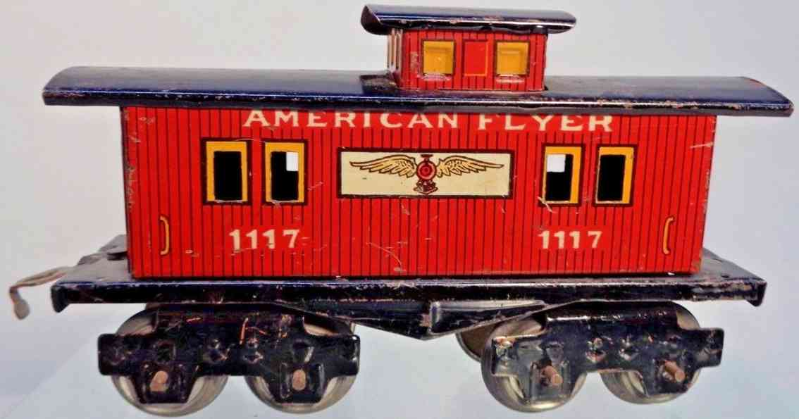 american flyer toy company 1117 railway toy caboose red marklin style trucks gauge 0