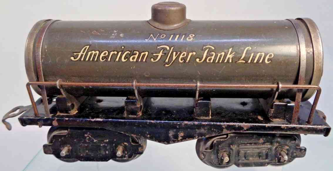 american flyer toy company 1118 railway toy tank car light gray gauge 0