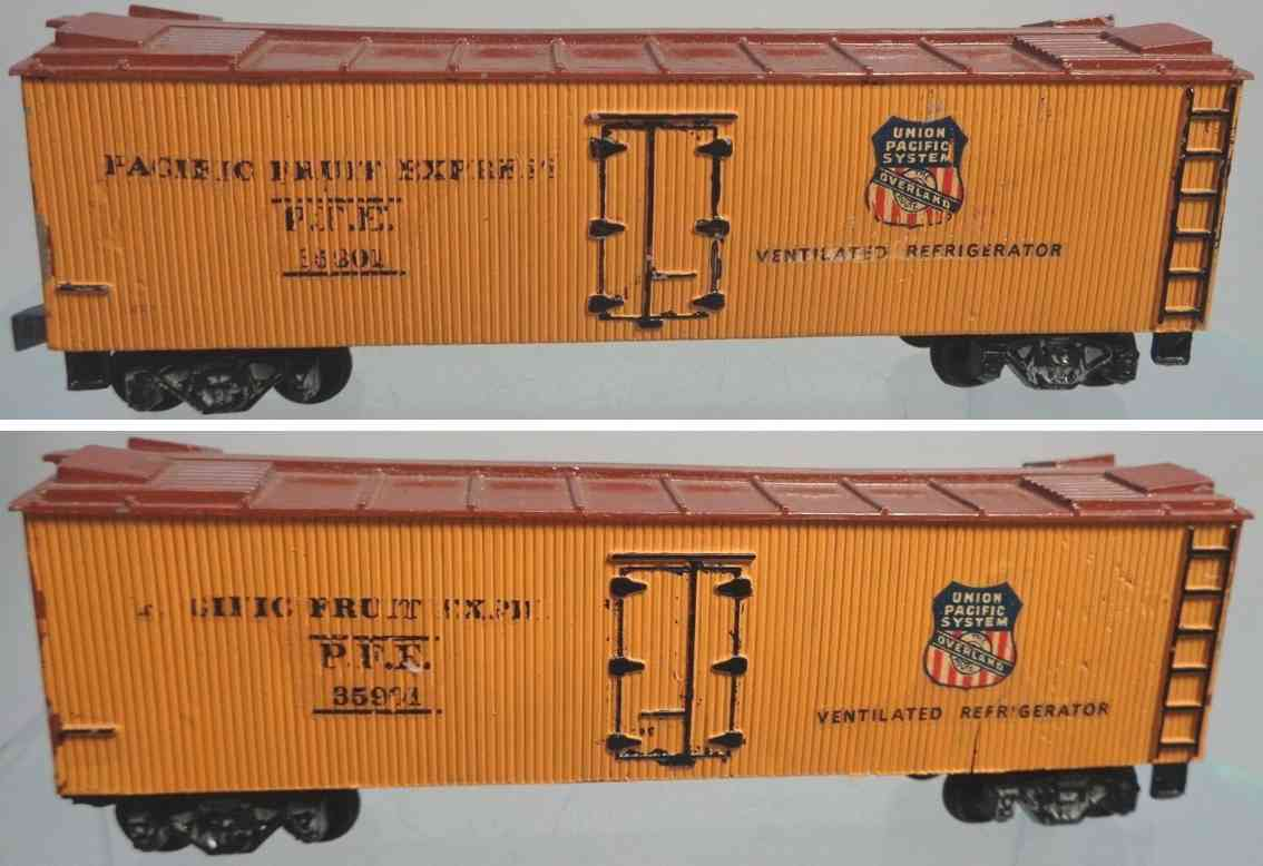 american flyer toy company 113 railway toy refrigerator car orange maroon gauge h0