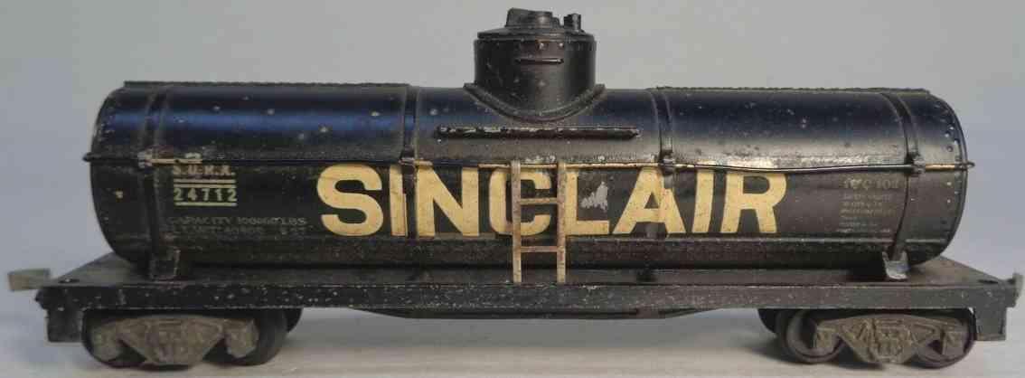 american flyer toy company 116 railway toy tank car black sinclarie gauge h0