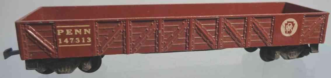american flyer toy company 118 railway toy gondola car brown gauge h0