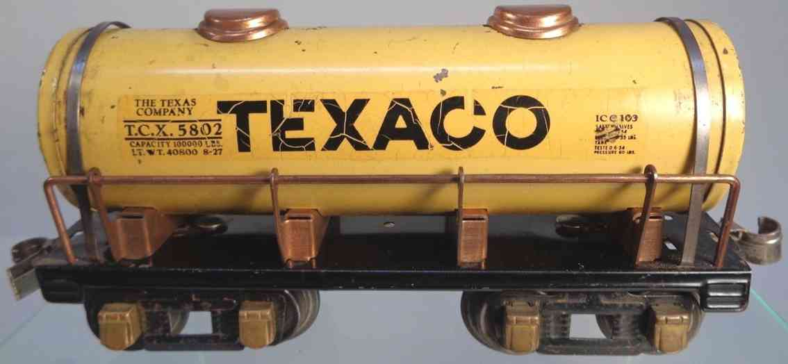 american flyer toy company 231 spielzeug eisenbahn kesselwagen texaco spur 0