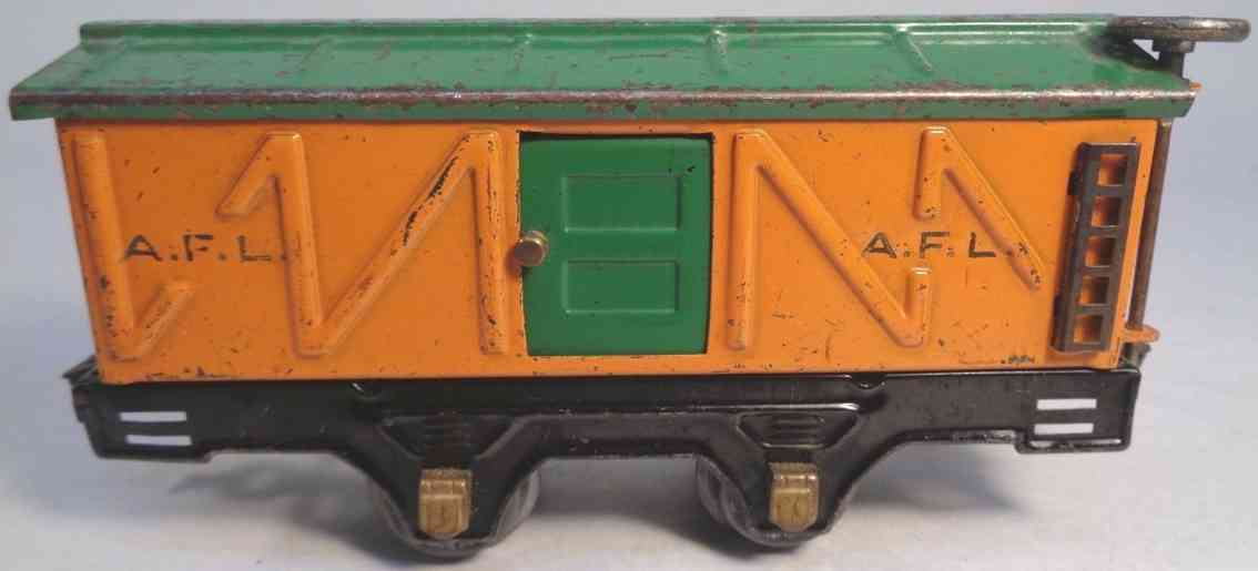 american flyer toy company 3012 railway toy box car orange green gauge 0
