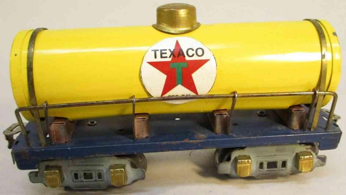 american flyer toy company 3018 railway toy tank car yellow texaco gauge 0