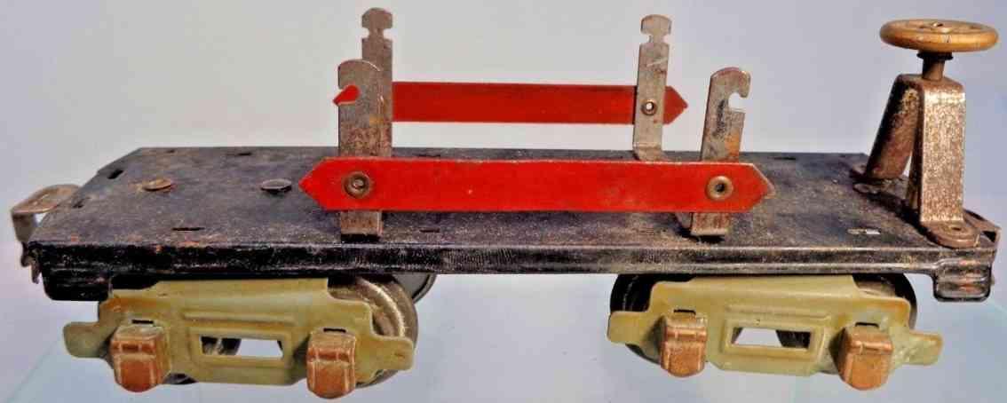 american flyer toy company 3046 railway toy flat car black red gray gauge 0