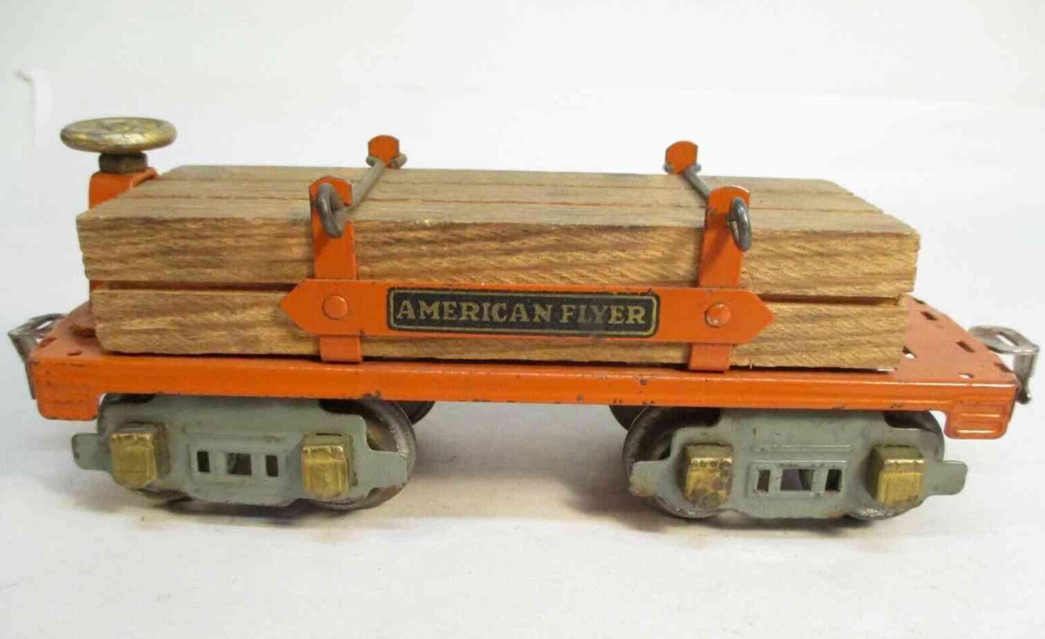 american flyer toy company 3046 railway toy flat car orange gauge 0