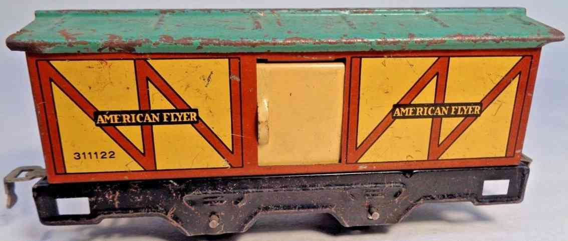 american flyer toy company 311122 gedeckter gueterwagen gelb rot gruen spur 0