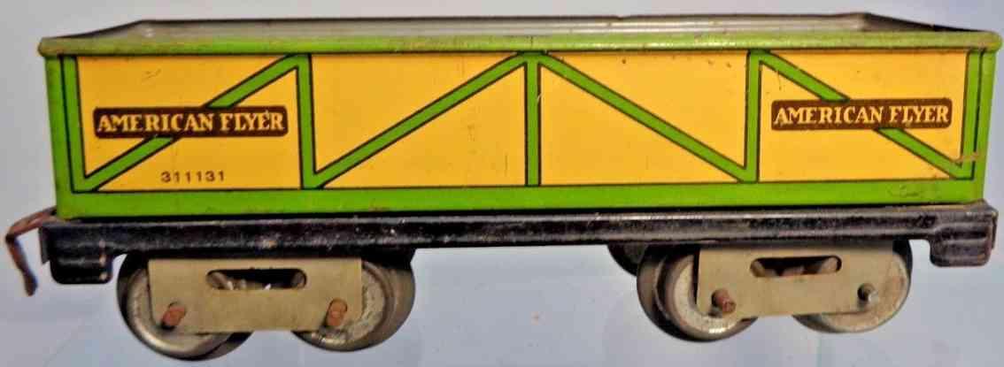 american flyer 311131 spielzeug eisenbahn offener gueterwagen gelb gruen spur 0