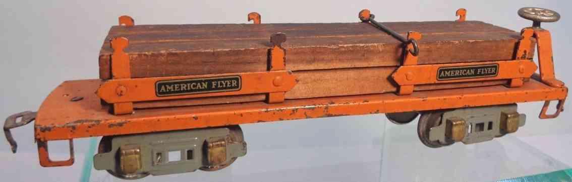 american flyer 3206 spielzeug eisenbahn flachwagen orange spur 0