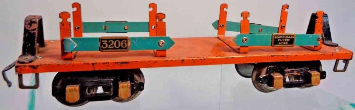 american flyer 3206 railway toy metal flat car orange teal slats gauge 0