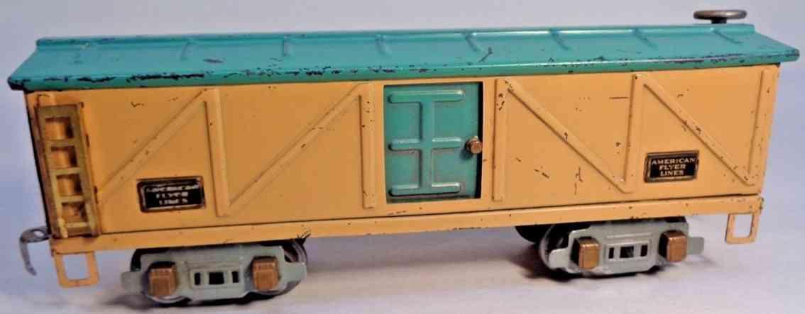 american flyer toy company 3208 gedeckter gueterwagen brau blaugruen spur 0