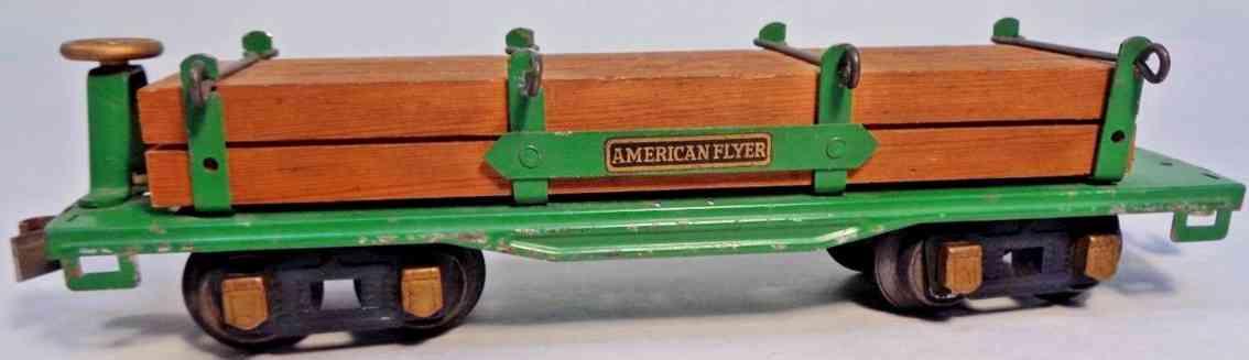 american flyer toy company 3216 railway toy flatcar with lumber green gauge 0
