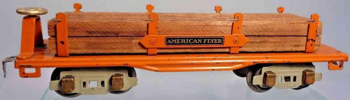 american flyer toy company 3216 railway toy flatcar with lumber orange gauge 0