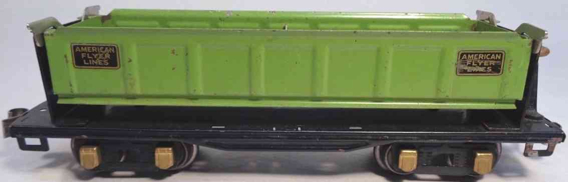 american flyer toy company 3219 railway toy dump car apple green black brass gauge 0