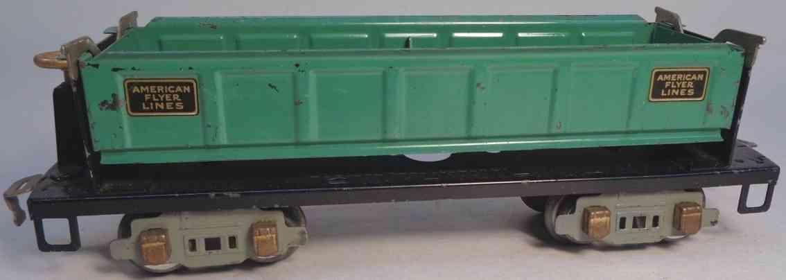american flyer toy company 3219 railway toy dump car teal brass gray gauge 0