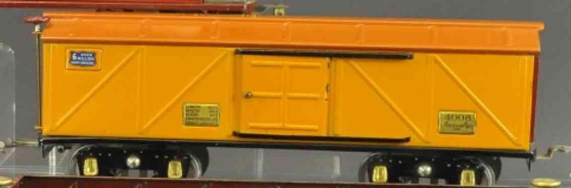 american flyer 4008 eisenbahn geschlossener gueterwagen orange wide gauge