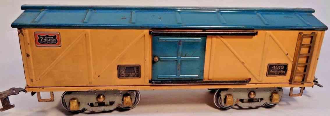american flyer 4018 gedeckter gueterwagen braun blaugruen standard gauge