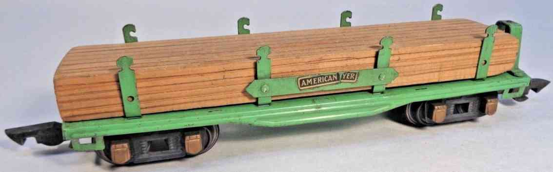american flyer toy company 406 railway toy flat car green wooden load gauge 0