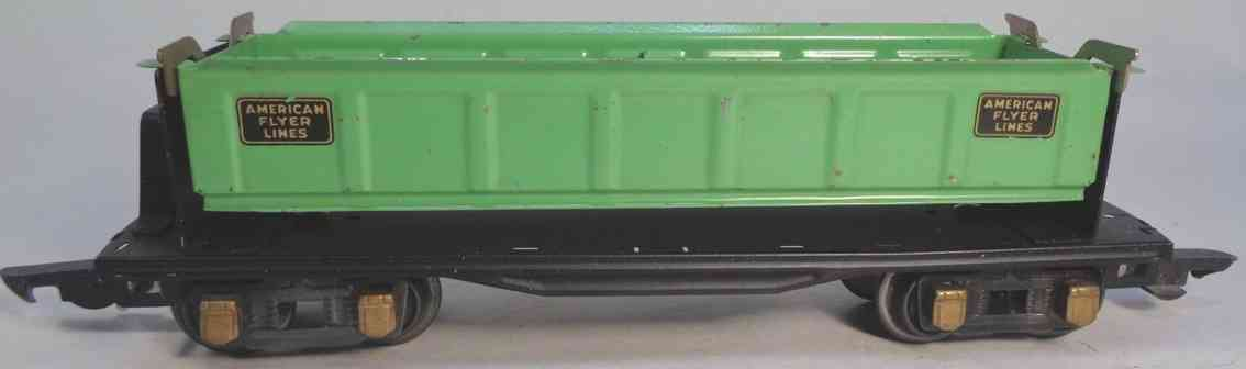 american flyer 409 railway toy dump car light green gauge 0
