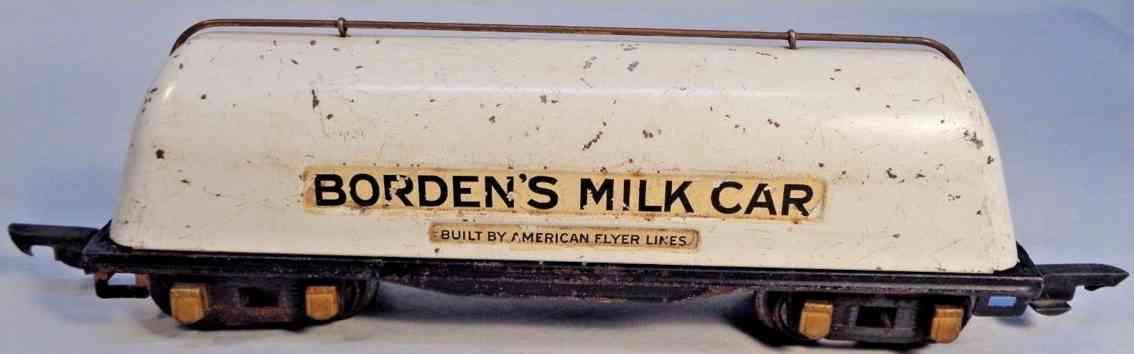 american flyer toy company 412 railway toy borden's milk tank car white gauge 0